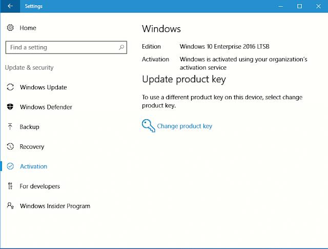 Contoh jendela menu Activation dalam jendela Settings