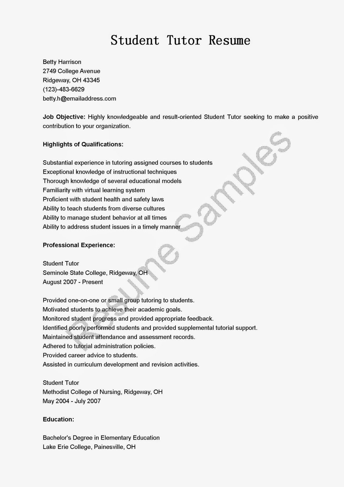 Resume Samples Student Tutor Sample