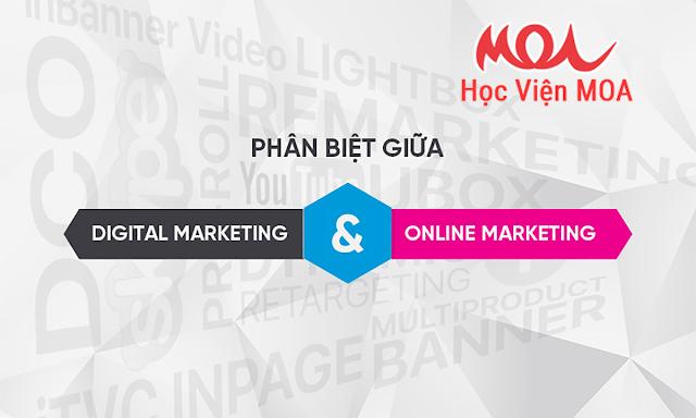 Điểm khác biệt giữa digital marketing và Marketing Online