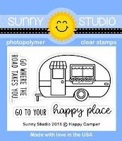 Sunny Studio: Happy Camper Retro Trailer 2x3 Clear Stamps