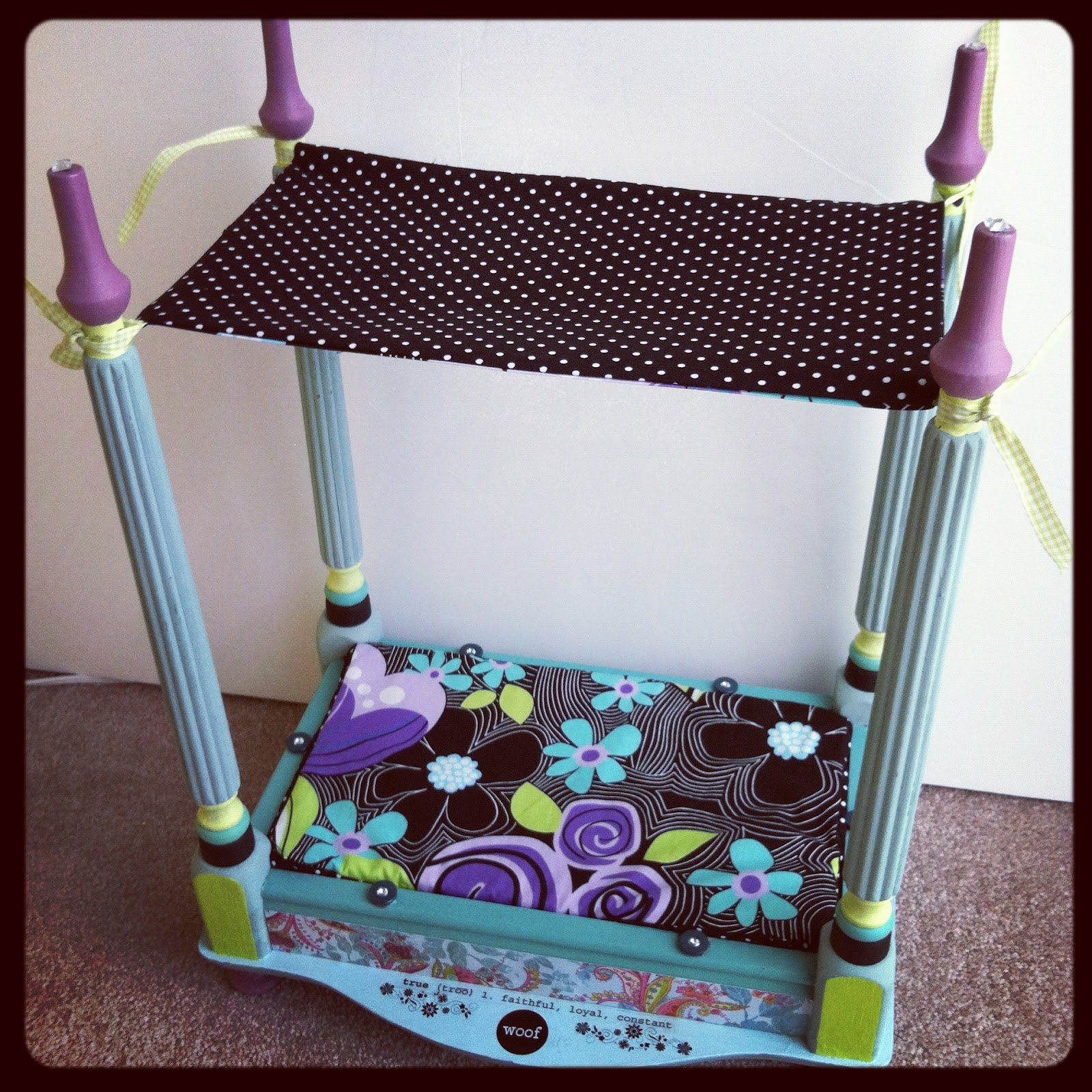 The Budget Cropper Dog Bed Mini Up Cycled Bombay Side Table