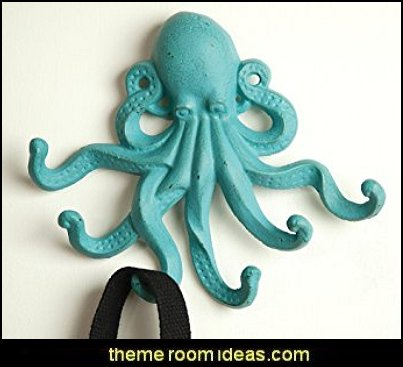 Cast Iron Octopus Hooks   seaside cottage decorating ideas - coastal living living room ideas - beach cottage coastal living style decorating ideas - beach house decor - seashell decor - nautical bedroom furniture