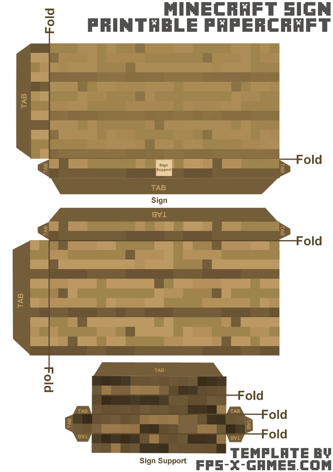 Free minecraft papercraft blank sign template cut out for Minecraft cut out templates