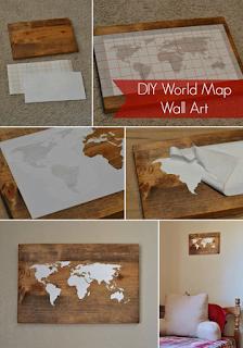 Hiasan dinding ruang tamu minimalis dari kayu, motif peta