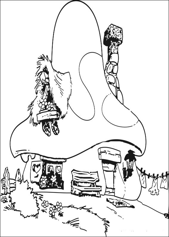 transmissionpress: The Smurfs Houses Coloring Page