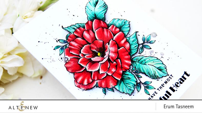 Altenew Beautiful Heart Stamp Set | Pencil Colored | Erum Tasneem | @pr0digy0