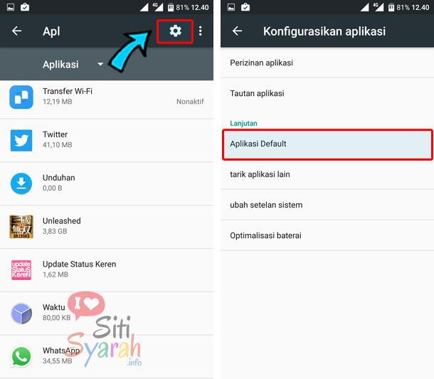 cara setting default aplikasi di android