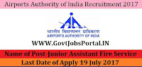 Airports Authority of India Recruitment 2017– Junior Assistant Fire Service