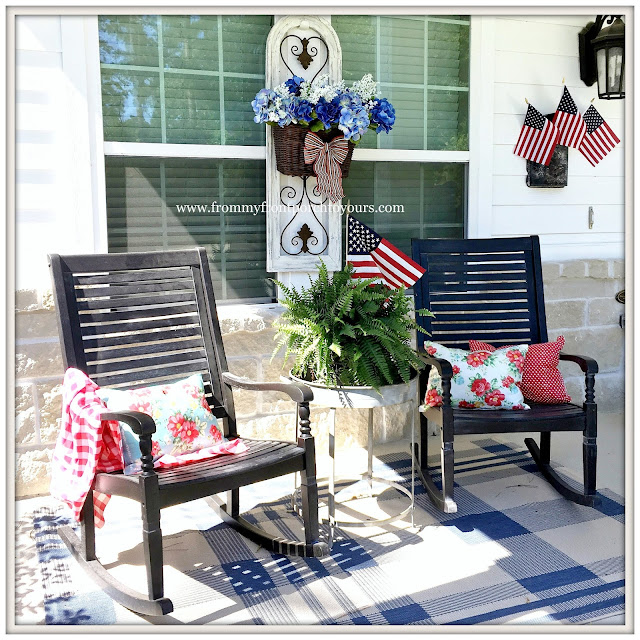 Farmhouse-Rocking CHairs-Grandin Road-Porch Rug-Hydrangeas-flags-Pioneer Woman Decor-Fourth of July-Patriotic Front Porch-From My Front Porch To Yours