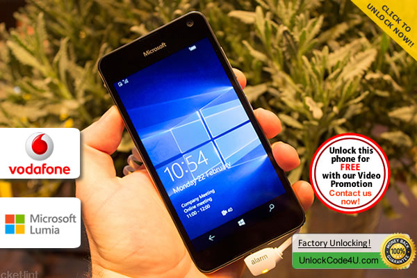 Factory Unlock Code Microsoft Lumia 650 from Vodafone