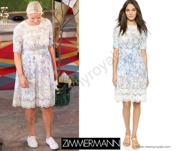 Princess-Mette-Marit of Norway wore Zimmermann Confetti Scallop day dress