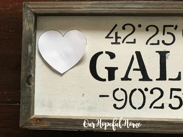 Galena Illinois coordinates sign heart stencil