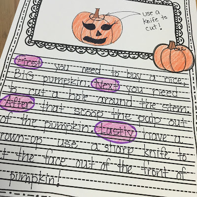 how to carve a pumpkin writing activity first grade