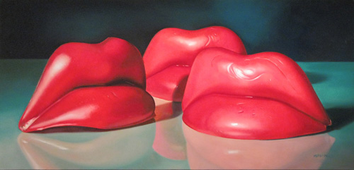 painting of wax lips