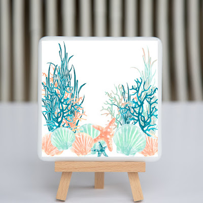 fusography, ocean, shells, coral, fused glass, full color photo on fused glass