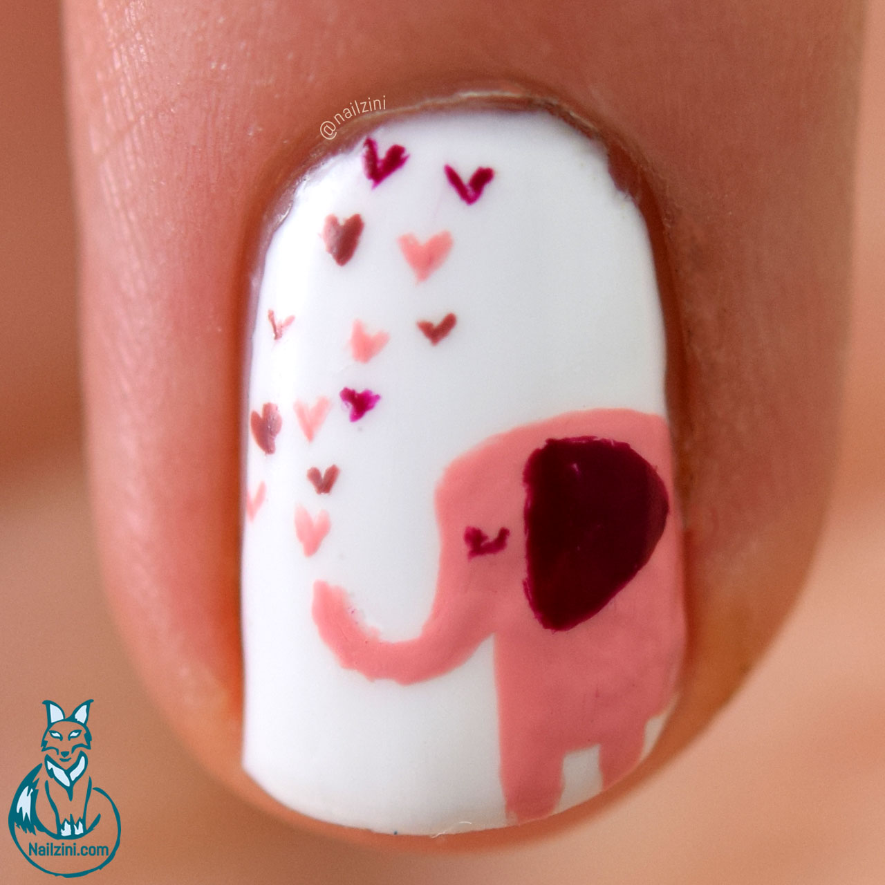 Cute Elephant Valentine Nail Art Nailzini