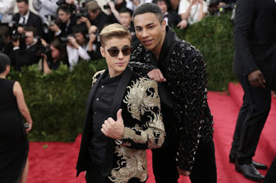 Justin Bieber and Balmain's Olivier Rousteing. Photo: Neilson Barnard/Getty Images