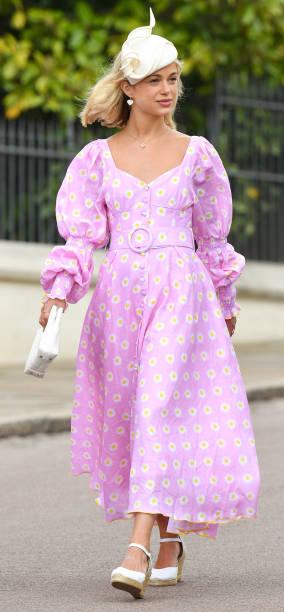 77c6470abcb85 Lady Amelia Windsor in Turkish designer Gul Hurgel in a bubblegum-pink midi  dress printed all over with daisy, puffed sleeves and cummerbund.