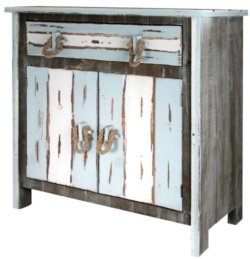 Distressed Wood Cabinet with Rope Handles