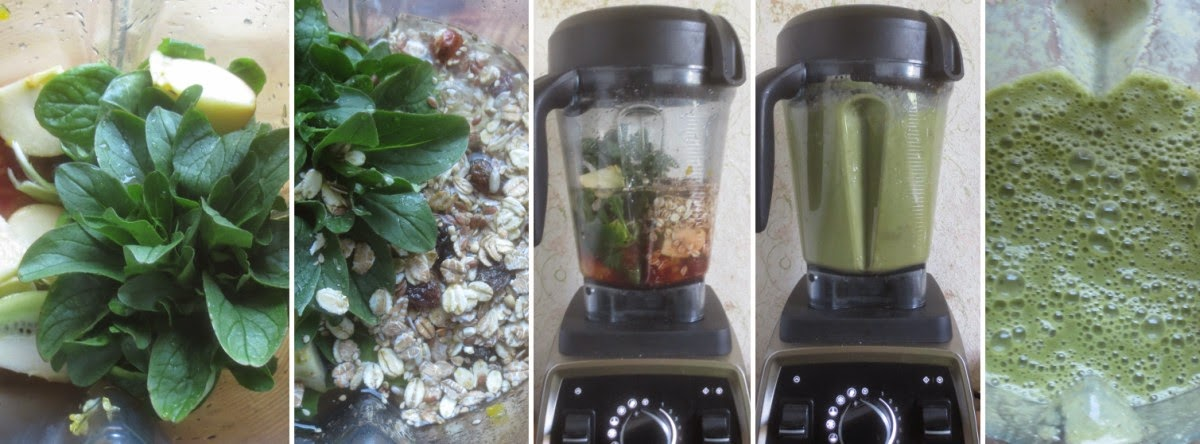 Zubereitung Grüner Smoothie mit Feldsalat und Orange, Zubereitung green smoothie, how to make a green smoothie, Vitamix