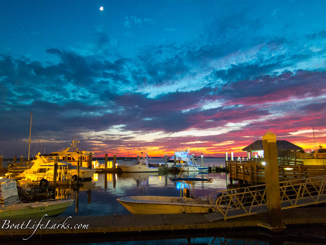 Fernandina Harbor Marina at sunset
