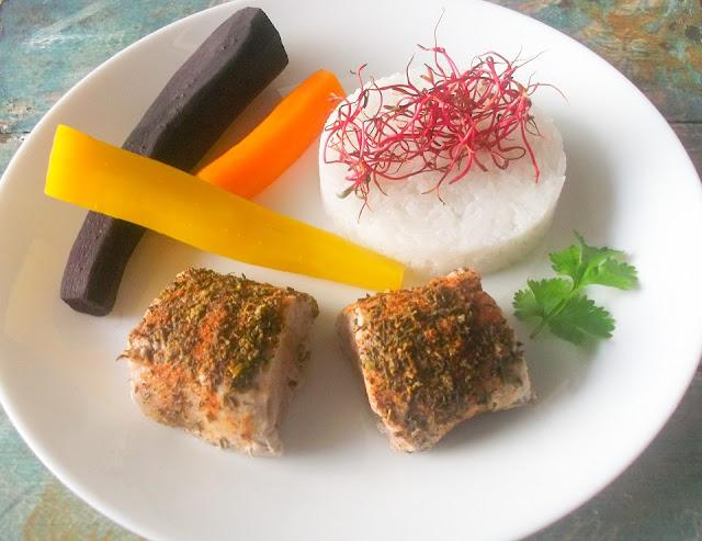 mięso wieprzowe z marchewkami z parowaru