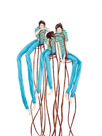 Monica Rohan - Criss cross, 2018, oil on board | creative paintings, cool stuff, pictures | obras de arte contemporaneo, cuadros, imagenes de pinturas bonitas chidas | peintures | pitturas