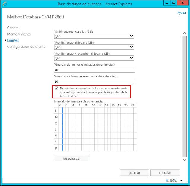 Podemos comprobar, usando la GUI, los cambios realizados mediante los comandos ejecutados en Exchange PowerShell.