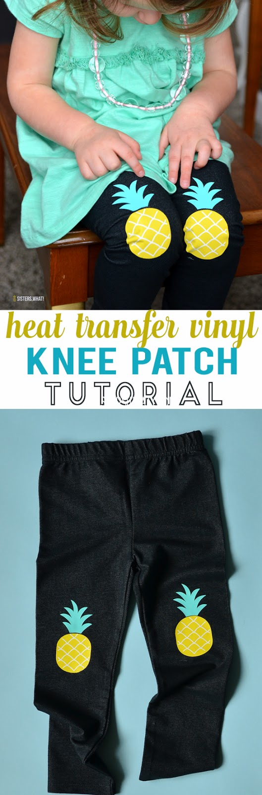 add DIY knee patches using heat transfer stretch vinyl. Make pineapple knee patches!