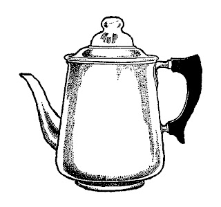 coffee pot vintage clipart image transfer digital download illustration