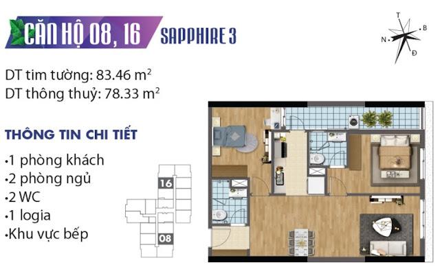 Thiết kế căn hộ số 8 và 16 tòa Sapphire 3