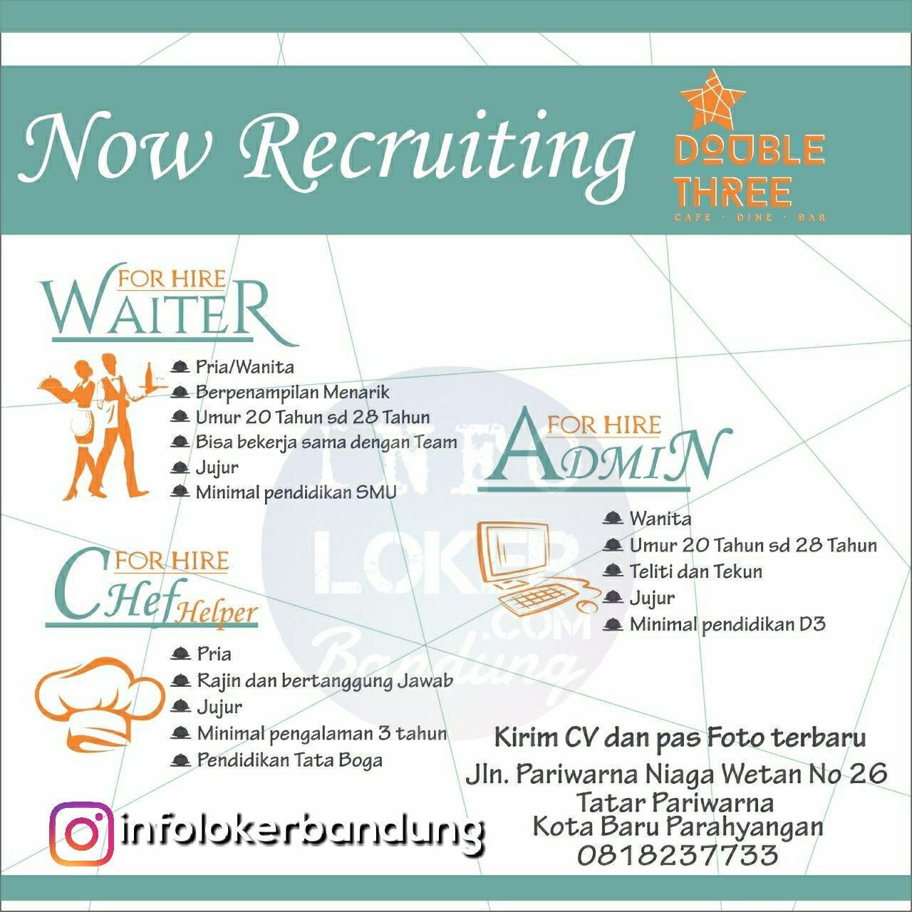 Lowongan Kerja Double Three Cafe Dine Bar Bandung April 2018