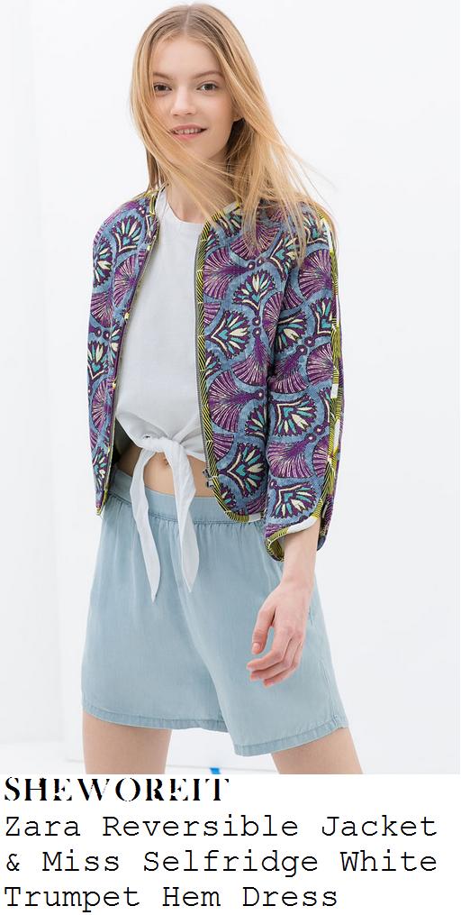 lauren-pope-zara-multicoloured-fan-print-reversible-bomber-jacket-and-miss-selfridge-white-trumpet-hem-mini-dress