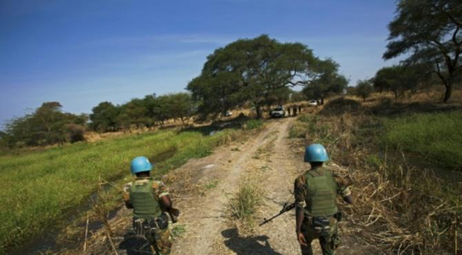 Peacekeeper troops from Ethiopia and deployed in the UN Interim Security Force for Abyei (UNISFA) patrol outside Abyei town, in Abyei state, on December 14, 2016.