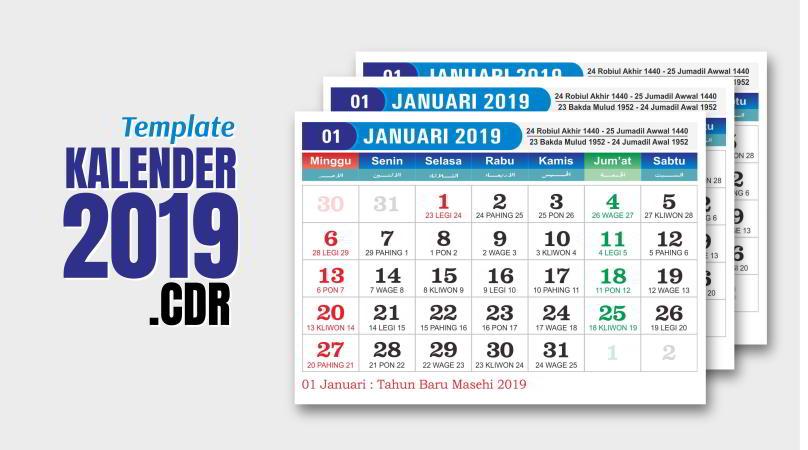 Desain Kalender 2019 CDR Lengkap: Jawa - Hijriyah - Indonesia