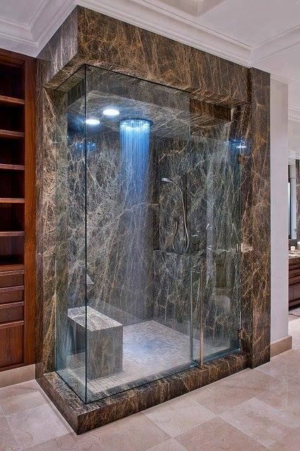 Modern Villa's Waterfall Showers Rooms