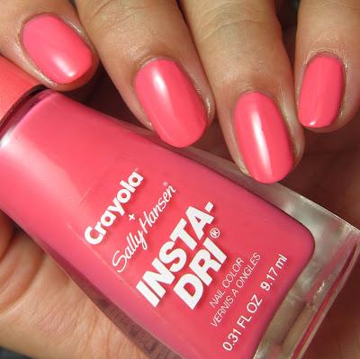 swatches and review of Sally Hansen + Crayola Carnation Pink nail polish