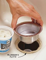 Use a ring of plumber's putty to seal a sink flange