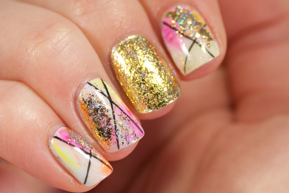 Watercolour and Gold Accent Nail Art Sharpie manicure