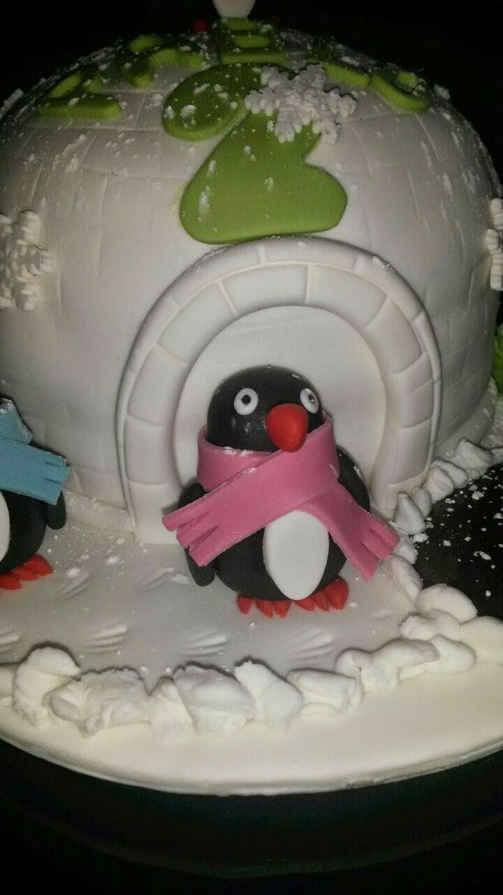 tarta fondant iglu y pinguinos