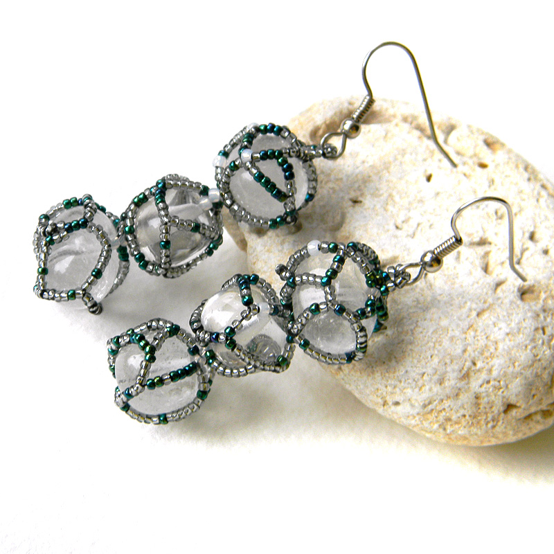 Rock crystal earrings - beaded earrings - quartz earrings - OOAK earrings