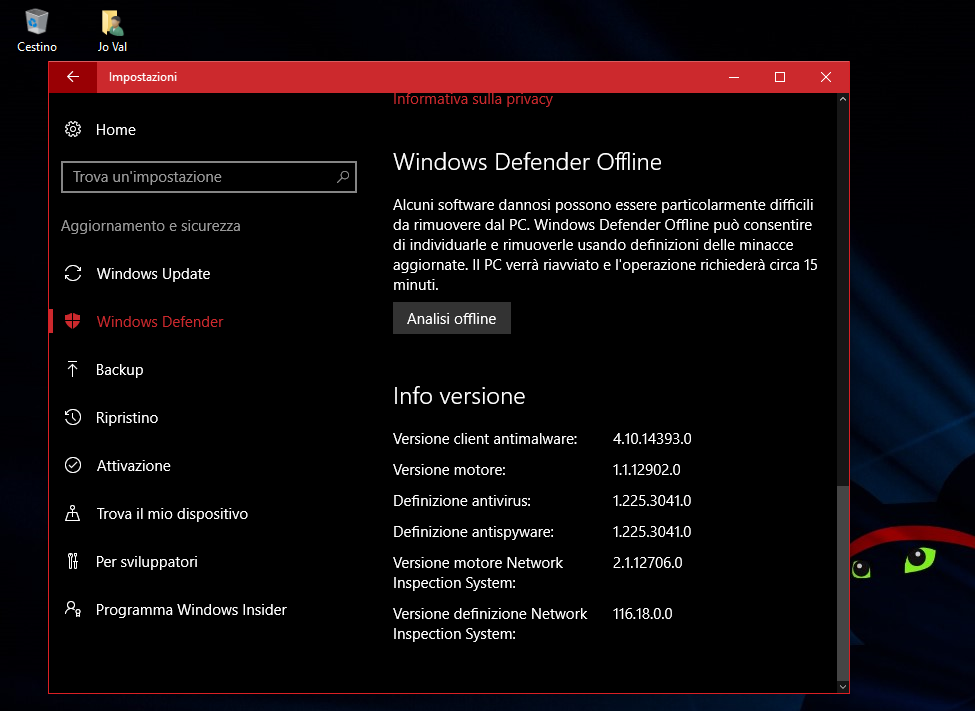 L'Antivirus Defender potenziato in Windows 10 Anniversary Update 2 HTNovo