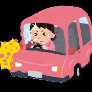 車の交通事故のイラスト(女性)