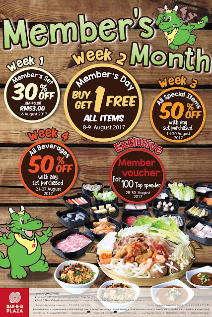 BarBQ Plaza Malaysia Member's Month Buy 1 Free 1 Promo