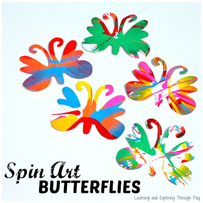 Spin Art Butterfly Art for Preschool - Learning and Exploring Through Play