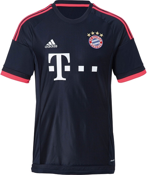 ed13d1ab6 On the front of the new Bayern 2015-16 Third Shirt is a unique graphic  pattern featuring differently sized lines. The jersey has a simple crew  neck collar ...