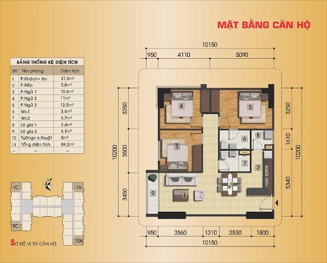 Mặt bằng căn hộ 3 ngủ điển hình Gemek Premium