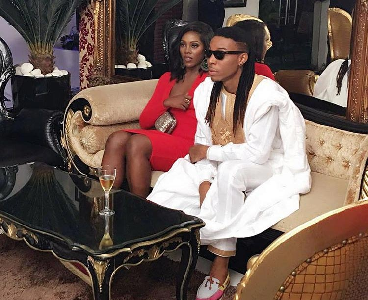 Tiwa Savage and Solidstar look good together on set of music video shoot