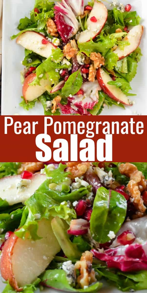 Pear Pomegranate Salad recipe is a favorite side dish for Thanksgiving and Christmas. A savory pear recipe with gorgonzola and walnuts with a delicious balsamic vinaigrette. This will become a favorite dinner salad recipe from Serena Bakes Simply From Scratch.