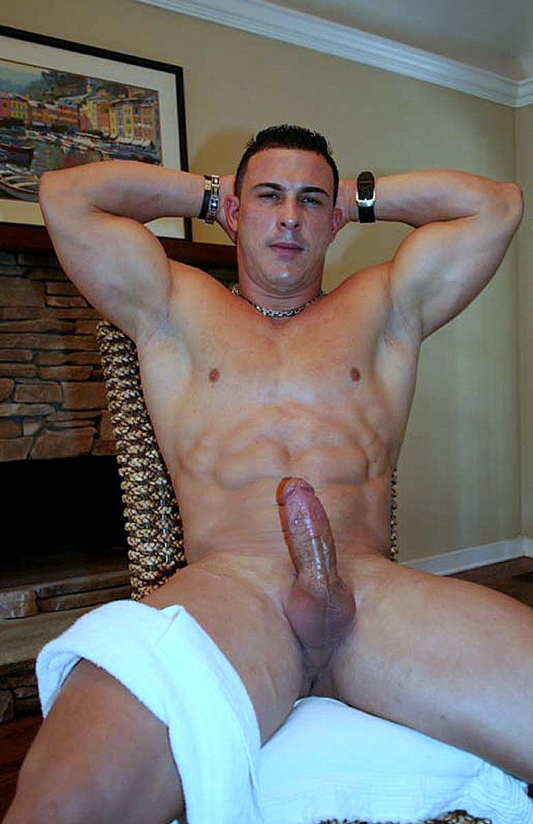 Sexy muscle guy with a big uncut cock